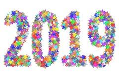 2019 ψηφία που αποτελούνται από τα ζωηρόχρωμα λουλούδια γυαλιού που απομονώνονται στο λευκό απεικόνιση αποθεμάτων