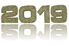 2019 ψηφία που αποτελούνται από τα στρατιωτικά λωρίδες κάλυψης στο στιλπνό λευκό διανυσματική απεικόνιση