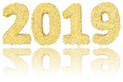 2019 ψηφία που αποτελούνται από τα χρυσά και ασημένια λωρίδες στο στιλπνό λευκό απεικόνιση αποθεμάτων