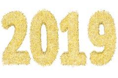 2019 ψηφία που αποτελούνται από τα χρυσά και ασημένια λωρίδες που απομονώνονται στο λευκό ελεύθερη απεικόνιση δικαιώματος