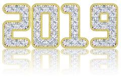 2019 ψηφία που αποτελούνται από τους πολύτιμους λίθους στο χρυσό πλαίσιο στο στιλπνό λευκό διανυσματική απεικόνιση