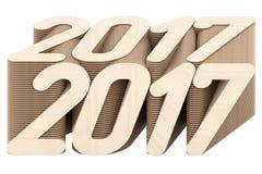 2017 ψηφία που αποτελούνται από τις κομμένες ξύλινες επιτροπές που απομονώνονται στο άσπρο υπόβαθρο ελεύθερη απεικόνιση δικαιώματος