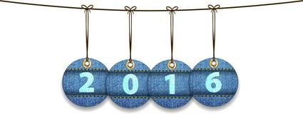 2016 ψηφία στις ετικέτες φιαγμένα από τζιν ελεύθερη απεικόνιση δικαιώματος