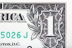 Ψηφίο ένα από το U ενός δολαρίου S κινηματογράφηση σε πρώτο πλάνο τραπεζογραμματίων RR Στοκ Εικόνα