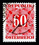 Ψηφίο στο τετραγωνικό πλαίσιο, ταχυδρομικά τέλη που οφείλεται (1949-1957) serie, circa 1950 Στοκ Φωτογραφίες