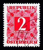 Ψηφίο στο τετραγωνικό πλαίσιο, ταχυδρομικά τέλη που οφείλεται (1949-1957) serie, circa 1950 Στοκ φωτογραφίες με δικαίωμα ελεύθερης χρήσης
