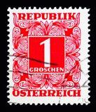 Ψηφίο στο τετραγωνικό πλαίσιο, ταχυδρομικά τέλη που οφείλεται (1949-1957) serie, circa 1950 Στοκ Εικόνες