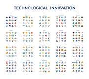 Ψηφιακά διανυσματικά εικονίδια τεχνολογίας καθορισμένα στοκ εικόνες