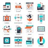 Ψηφιακά εικονίδια εμπορίου διανυσματική απεικόνιση