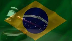 Ψηφιακά ζωτικότητα της βραζιλιάνα σημαίας και gavel ελεύθερη απεικόνιση δικαιώματος