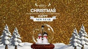 Ψηφιακά ζωτικότητα του ζεύγους χιονανθρώπων με τη Χαρούμενα Χριστούγεννα και το κείμενο καλής χρονιάς φιλμ μικρού μήκους