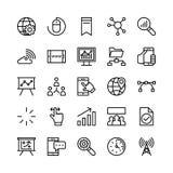 Ψηφιακά διανυσματικά εικονίδια 1 γραμμών μάρκετινγκ Στοκ φωτογραφία με δικαίωμα ελεύθερης χρήσης