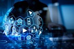 Ψηφιακά μέσα μάρκετινγκ (αγγελία ιστοχώρου, ηλεκτρονικό ταχυδρομείο, κοινωνικό δίκτυο, SEO, στοκ εικόνα με δικαίωμα ελεύθερης χρήσης