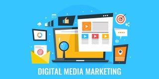 Ψηφιακά μέσα που διαφημίζουν - στοχοθέτηση ακροατηρίων και έννοια δέσμευσης Επίπεδο έμβλημα μάρκετινγκ σχεδίου απεικόνιση αποθεμάτων
