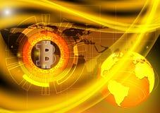 Ψηφιακά νόμισμα Bitcoin και υπόβαθρο έννοιας γήινης τεχνολογίας, η διανυσματική NASA απεικόνισης Στοκ Εικόνες