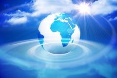 Ψηφιακά παραγμένη γη με το μπλε φως Στοκ Φωτογραφίες