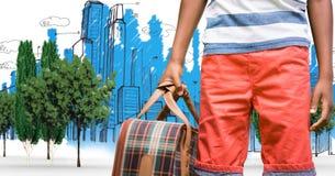 Ψηφιακά παραγμένη εικόνα της τσάντας εκμετάλλευσης ατόμων στεμένος με τα κτήρια που σύρονται στο υπόβαθρο Στοκ Εικόνες