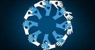 Ψηφιακά παραγμένη εικόνα των χεριών που διαμορφώνει έναν κύκλο διανυσματική απεικόνιση