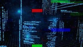 Ψηφιακά παραγμένη ζωτικότητα των δυαδικών κωδίκων με τα χρωματισμένα στοιχεία ελεύθερη απεικόνιση δικαιώματος