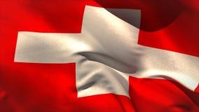 Ψηφιακά παραγμένος ελβετικός κυματισμός σημαιών ελεύθερη απεικόνιση δικαιώματος