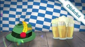 Ψηφιακά παραγμένος του γυαλιού και του καπέλου μπύρας στην ξύλινη σανίδα ελεύθερη απεικόνιση δικαιώματος