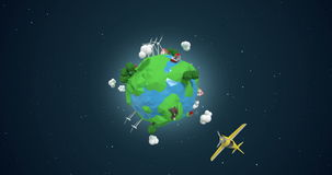 Ψηφιακά παραγμένος των αεροσκαφών που ταξιδεύουν σε όλο τον κόσμο διανυσματική απεικόνιση