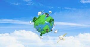 Ψηφιακά παραγμένος των αεροσκαφών που ταξιδεύουν σε όλο τον κόσμο απεικόνιση αποθεμάτων