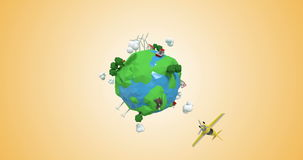 Ψηφιακά παραγμένος των αεροσκαφών που ταξιδεύουν σε όλο τον κόσμο ελεύθερη απεικόνιση δικαιώματος