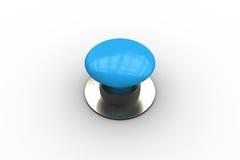 Ψηφιακά παραγμένο λαμπρό μπλε κουμπί ώθησης ελεύθερη απεικόνιση δικαιώματος