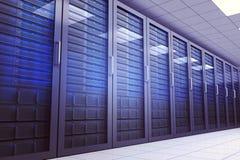 Ψηφιακά παραγμένο δωμάτιο κεντρικών υπολογιστών με τους πύργους ελεύθερη απεικόνιση δικαιώματος