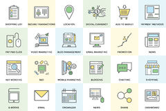 Ψηφιακά τολμηρά διανυσματικά εικονίδια 1 μάρκετινγκ Στοκ Εικόνα