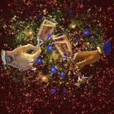 Ψηφιακά χέρια απεικόνισης ράστερ wineglasses εκμετάλλευσης ανδρών και γυναικών με champaign που γιορτάζει το νέο έτος με κίτρινος διανυσματική απεικόνιση