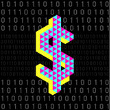 Ψηφιακά χρήματα στο μαύρο υπόβαθρο αριθμού κομματιών Στοκ φωτογραφία με δικαίωμα ελεύθερης χρήσης