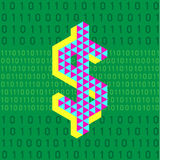 Ψηφιακά χρήματα στο πράσινο υπόβαθρο αριθμού κομματιών απεικόνιση αποθεμάτων