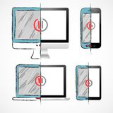 Ψηφιακές συσκευές καθορισμένες Στοκ εικόνα με δικαίωμα ελεύθερης χρήσης