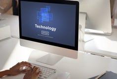 Ψηφιακή έννοια αρχικών σελίδων εξέλιξης καινοτομίας τεχνολογίας Στοκ Φωτογραφίες
