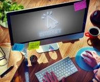 Ψηφιακή έννοια δεικτών του ποντικιού εικονιδίων σύνδεσης στο Διαδίκτυο Στοκ Φωτογραφία