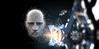 Ψηφιακή έννοια επικεφαλής, τεχνητής νοημοσύνης διανυσματική απεικόνιση