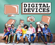 Ψηφιακή έννοια επικοινωνίας σύνδεσης ηλεκτρονικής συσκευών στοκ φωτογραφίες με δικαίωμα ελεύθερης χρήσης