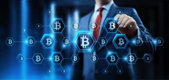 Ψηφιακή έννοια επιχειρησιακού Διαδικτύου τεχνολογίας νομίσματος νομισμάτων BTC κομματιών Cryptocurrency Bitcoin απεικόνιση αποθεμάτων