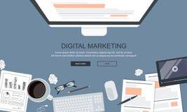 Ψηφιακή έννοια μάρκετινγκ Γραφείο γραφείων με τον εξοπλισμό Επίπεδο διάνυσμα απεικόνιση αποθεμάτων