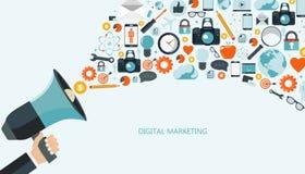 Ψηφιακή έννοια μάρκετινγκ και διαφήμισης Επίπεδη απεικόνιση ελεύθερη απεικόνιση δικαιώματος