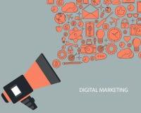 Ψηφιακή έννοια μάρκετινγκ και διαφήμισης Επίπεδη διανυσματική απεικόνιση απεικόνιση αποθεμάτων
