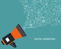 Ψηφιακή έννοια μάρκετινγκ και διαφήμισης Επίπεδη διανυσματική απεικόνιση διανυσματική απεικόνιση