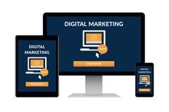 Ψηφιακή έννοια μάρκετινγκ στις ηλεκτρονικές συσκευές που απομονώνονται στο άσπρο υπόβαθρο στοκ φωτογραφία