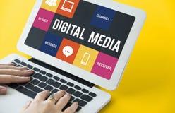 Ψηφιακή έννοια μέσων τεχνών εγγράφου lap-top υπολογιστών Στοκ Εικόνες