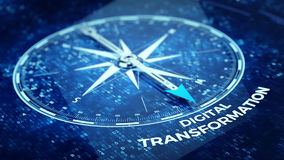 Ψηφιακή έννοια μετασχηματισμού - βελόνα πυξίδων που δείχνει την ψηφιακή λέξη μετασχηματισμού