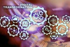 Ψηφιακή έννοια μετασχηματισμού της ψηφιοποίησης των επιχειρησιακών διαδικασιών τεχνολογίας Υπόβαθρο Datacenter ελεύθερη απεικόνιση δικαιώματος