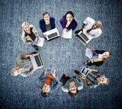 Ψηφιακή έννοια συσκευών lap-top τεχνολογίας παγκόσμιων επικοινωνιών Στοκ φωτογραφίες με δικαίωμα ελεύθερης χρήσης