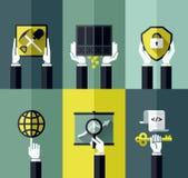 Ψηφιακή έννοια σχεδίου νομίσματος σύγχρονη επίπεδη διανυσματική Στοκ Εικόνες